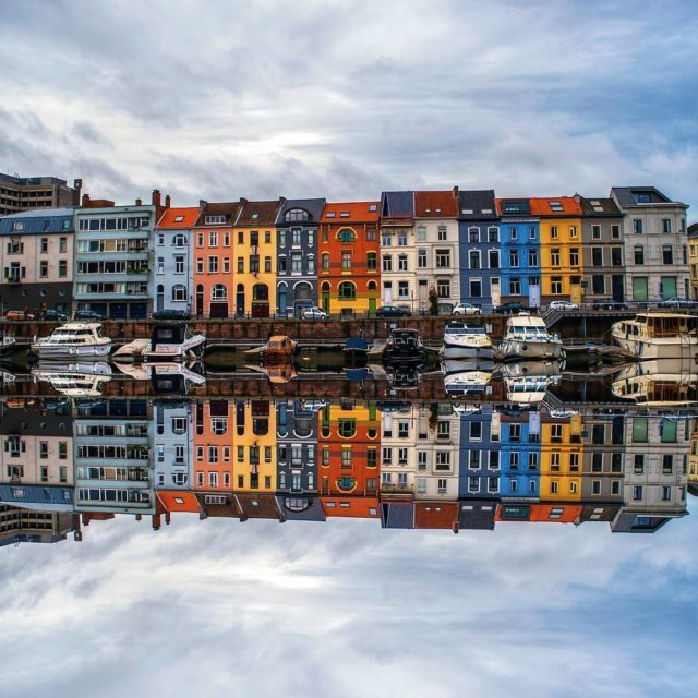 The perfect reflection Ghents Leie river and its colourful houseshellip