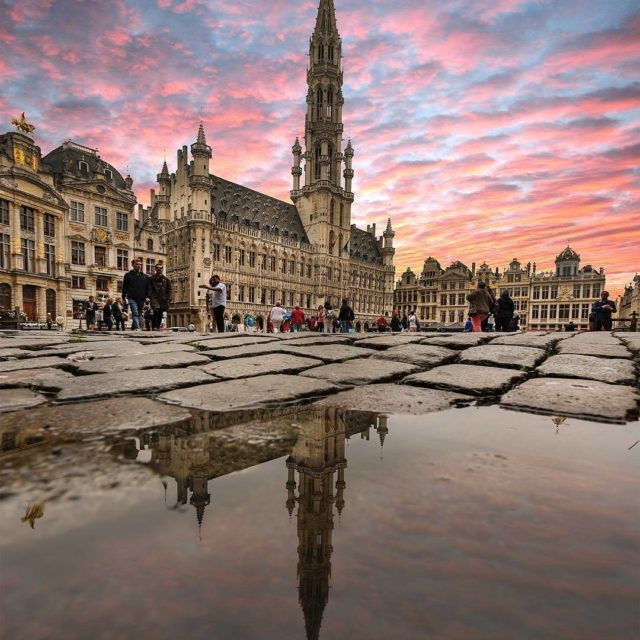 A dramatic sky over the City Hall in Brussels Grandhellip