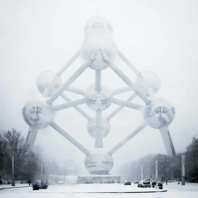 A wonderful sight the Atomium covered in snow Winter ishellip